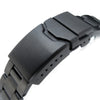 22mm Super Oyster watch band for SEIKO Diver SKX007/7002-700A, PVD Black, Button Chamfer