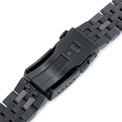 22mm ANGUS Jubilee 316L Stainless Steel Watch Bracelet for Seiko Turtle SRPC49K1, PVD Black, Button Chamfer