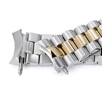 22mm Endmill 316L Stainless Steel Watch Bracelet for Seiko SKX007, Two Tone IP Gold, Button Chamfer