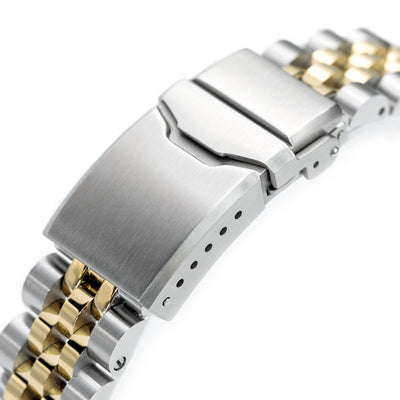 22mm ANGUS Jubilee 316L Stainless Steel Watch Bracelet Straight End 1.8 Universal Ver., Two Tone IP Gold, Button Chamfer