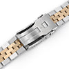 22mm ANGUS Jubilee 316L Stainless Steel Watch Bracelet for Seiko Turtle SRP775, Two Tone IP Gold, Button Chamfer
