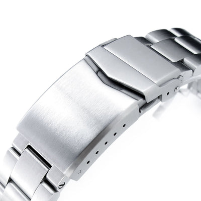 22mm Super-O Boyer 316L Stainless Steel Watch Bracelet for Seiko 5, Brushed V-Clasp - Strapcode