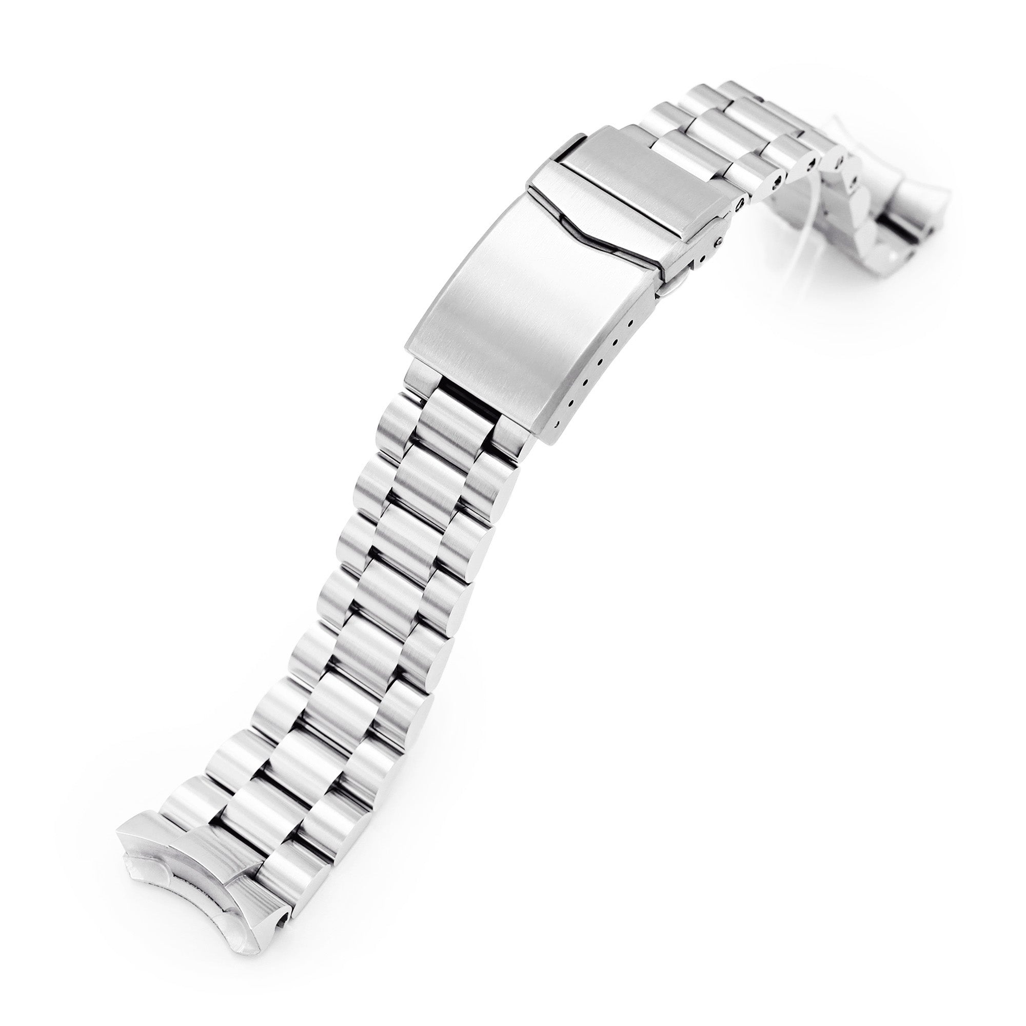 22mm Endmill 316L Stainless Steel Watch Band for Seiko 5, Brushed V-Clasp Strapcode Watch Bands