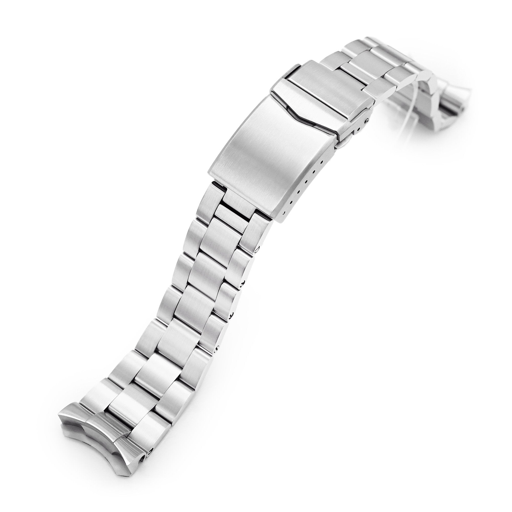 22mm Super-O Boyer 316L Stainless Steel Watch Band for Seiko 5, Brushed V-Clasp Strapcode Watch Bands