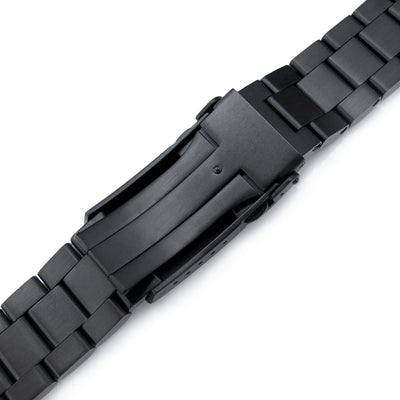22mm Hexad 316L Stainless Steel Watch Band for Seiko New Turtles SRPC49K1 & SRP777, V-Clasp Button Double Lock PVD Black