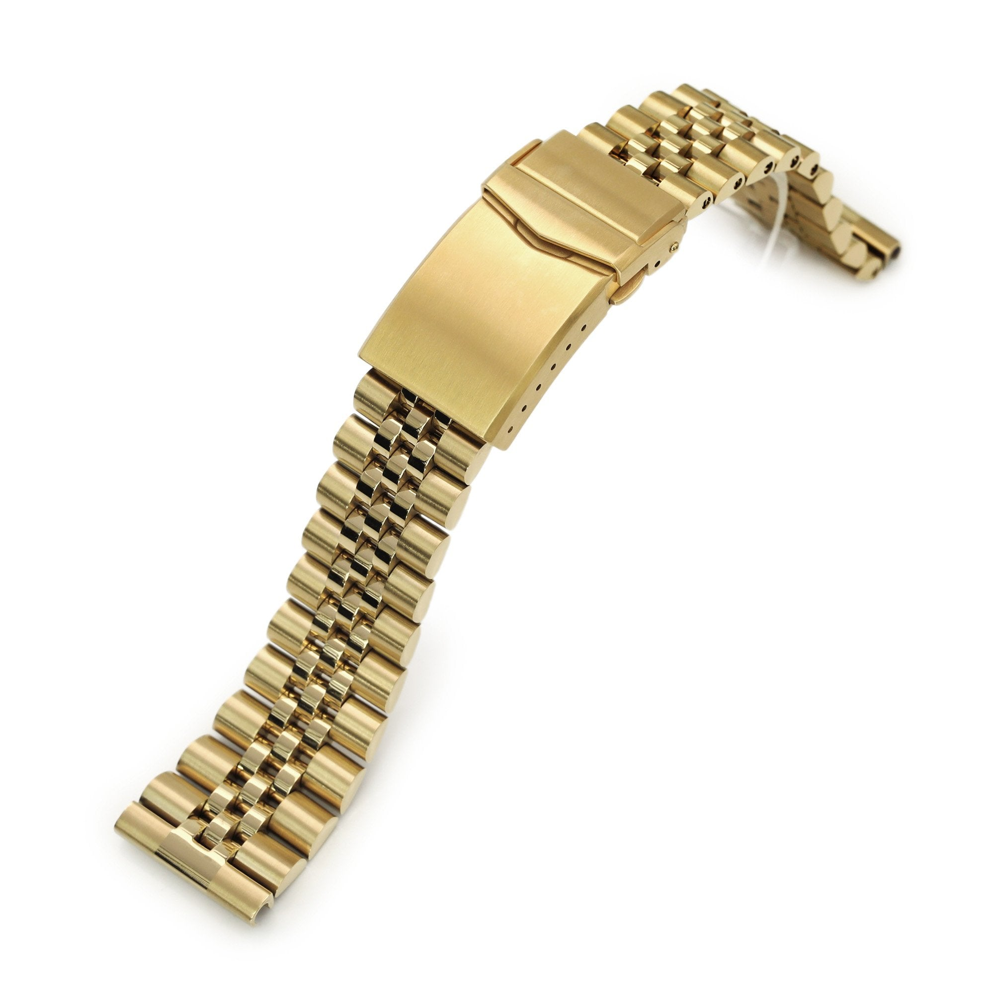 22mm Super-J Louis JUB 316L Stainless Steel Watch Band Straight End, Full IP Gold with Polished Center V-Clasp Strapcode Watch Bands