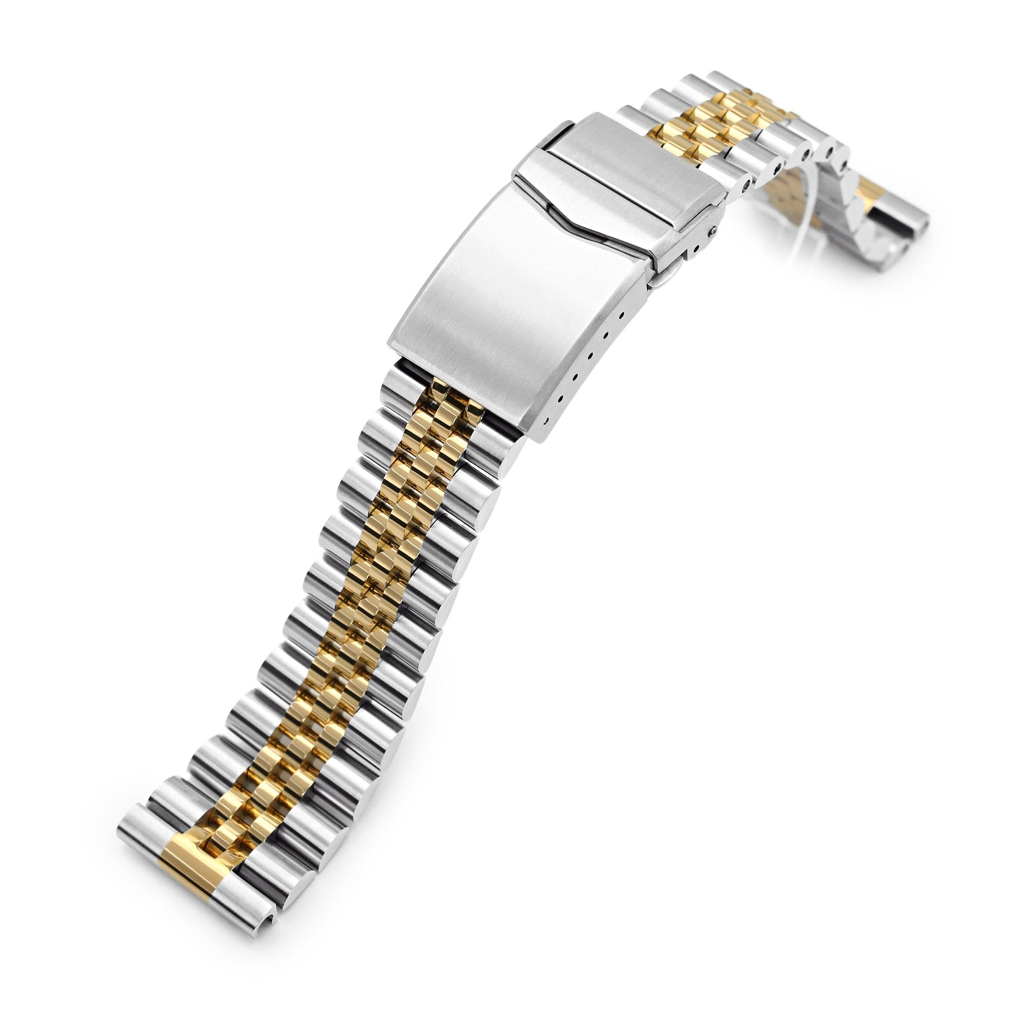 22mm Super-J Louis 316L Stainless Steel Watch Band Straight End, Two Tone IP Gold V-Clasp Strapcode Watch Bands