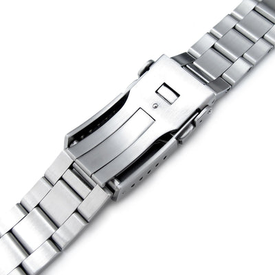 22mm Super 3D Oyster Watch Band for SEIKO Diver SKX007 SKX009, Brushed, Button Chamfer