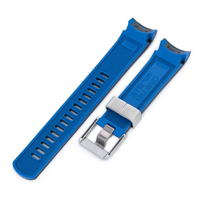 22mm Crafter Blue Dual Color Black Blue Rubber Curved Lug Watch Strap for TUD BB M79230 Strapcode Watch Bands