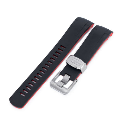 22mm Crafter Blue - Dual Color Red & Back Rubber Curved Lug Watch Strap for Tudor Black Bay M79230