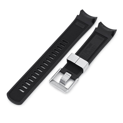22mm Crafter Blue - Black Rubber Curved Lug Watch Strap for Tudor Pelagos 25500TN