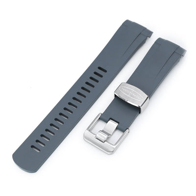 22mm Crafter Blue - Grey Rubber Curved Lug Watch Strap for Tudor Pelagos 25500TN