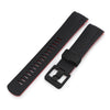 22mm Crafter Blue - Dual Color Red & Back Rubber Curved Lug Watch Strap for Tudor Pelagos 25500TN, PVD Black Buckle
