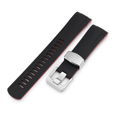 22mm Crafter Blue - Dual Color Red & Back Rubber Curved Lug Watch Strap for Tudor Pelagos 25500TN