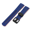 22mm Crafter Blue - Dual Color Blue & Red Rubber Curved Lug Watch Strap for Tudor Pelagos 25500TN, PVD Black Buckle