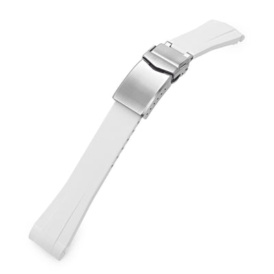 20mm White Curved End Caoutchouc Rubber Watch Strap for Vintage RX 1680 SUB Brushed V-Clasp Strapcode Watch Bands
