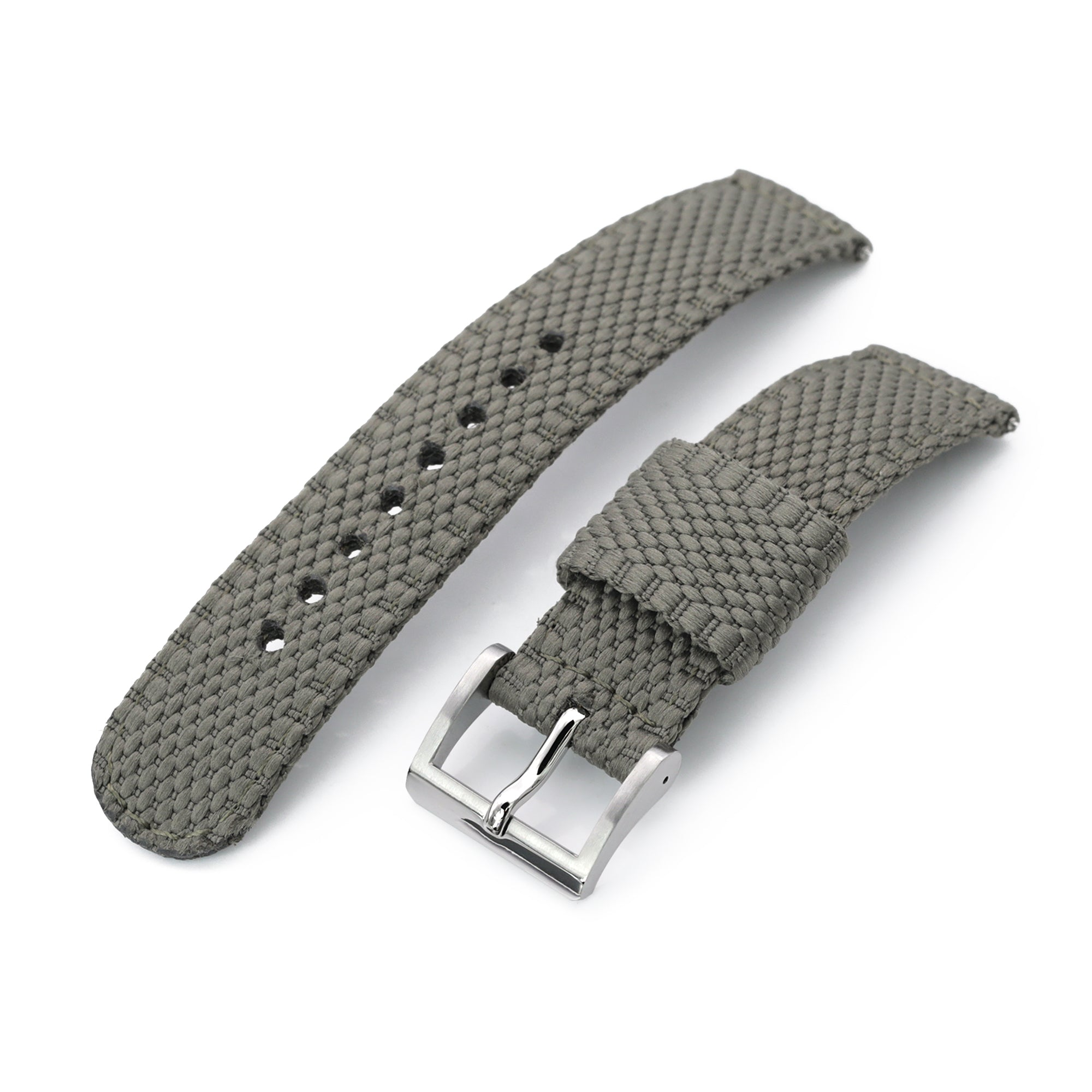 2-pcs Perlon Unique Pattern Military Green Watch Band, Polished Buckle Strapcode Watch Bands