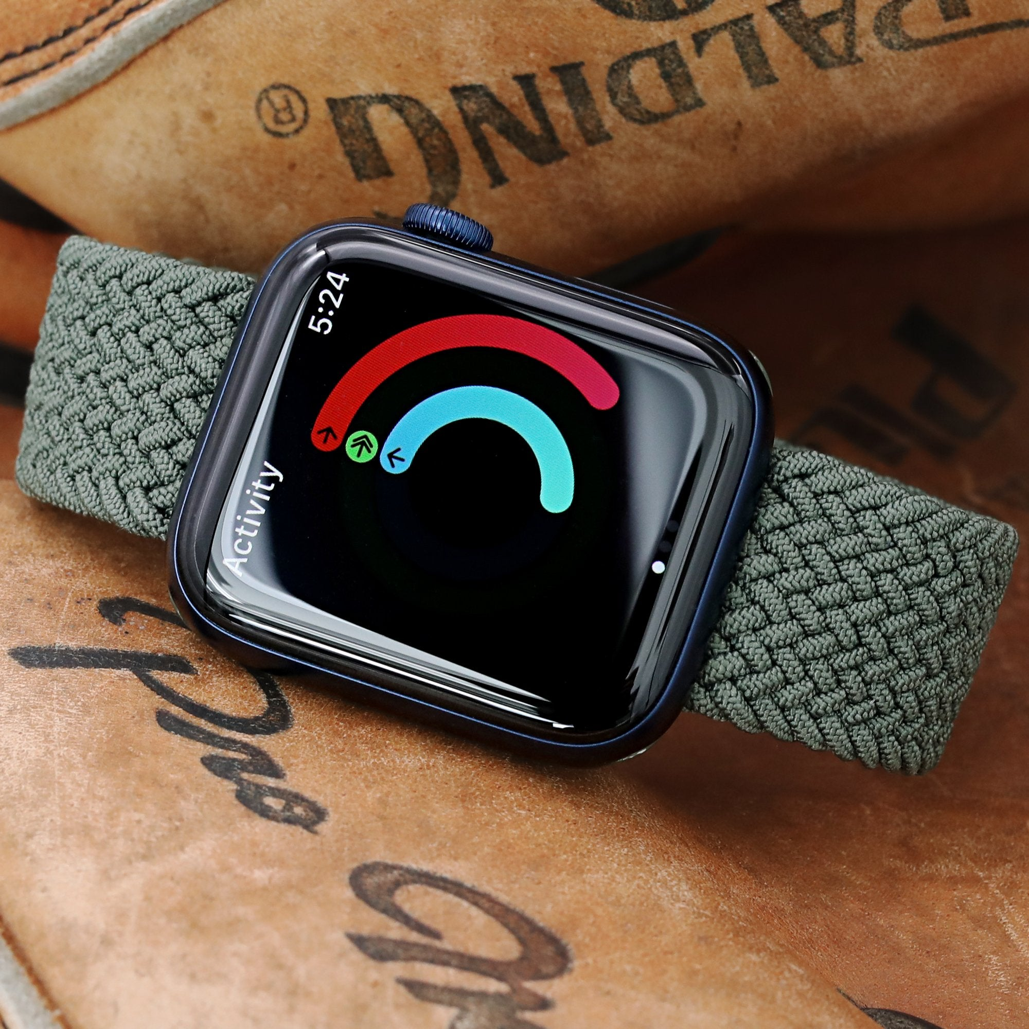 Stretchable Military Green Solo Loop Braided Apple Watch Band for 44mm / 42mm models Strapcode Watch Bands