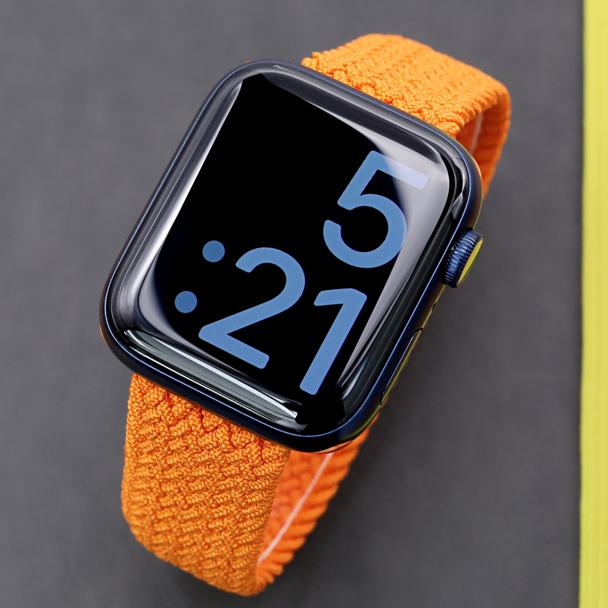 Stretchable Orange Solo Loop Braided Apple Watch Band for 44mm / 42mm models Strapcode Watch Bands