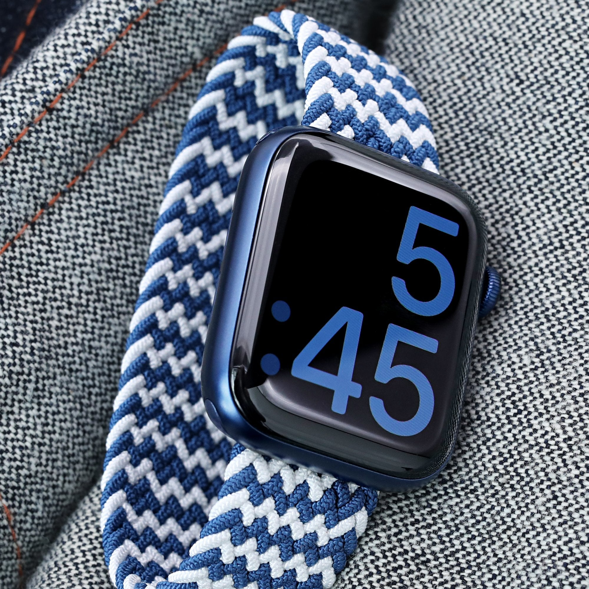 Stretchable Navy-White Solo Loop Braided Apple Watch Band for 44mm / 42mm models Strapcode Watch Bands