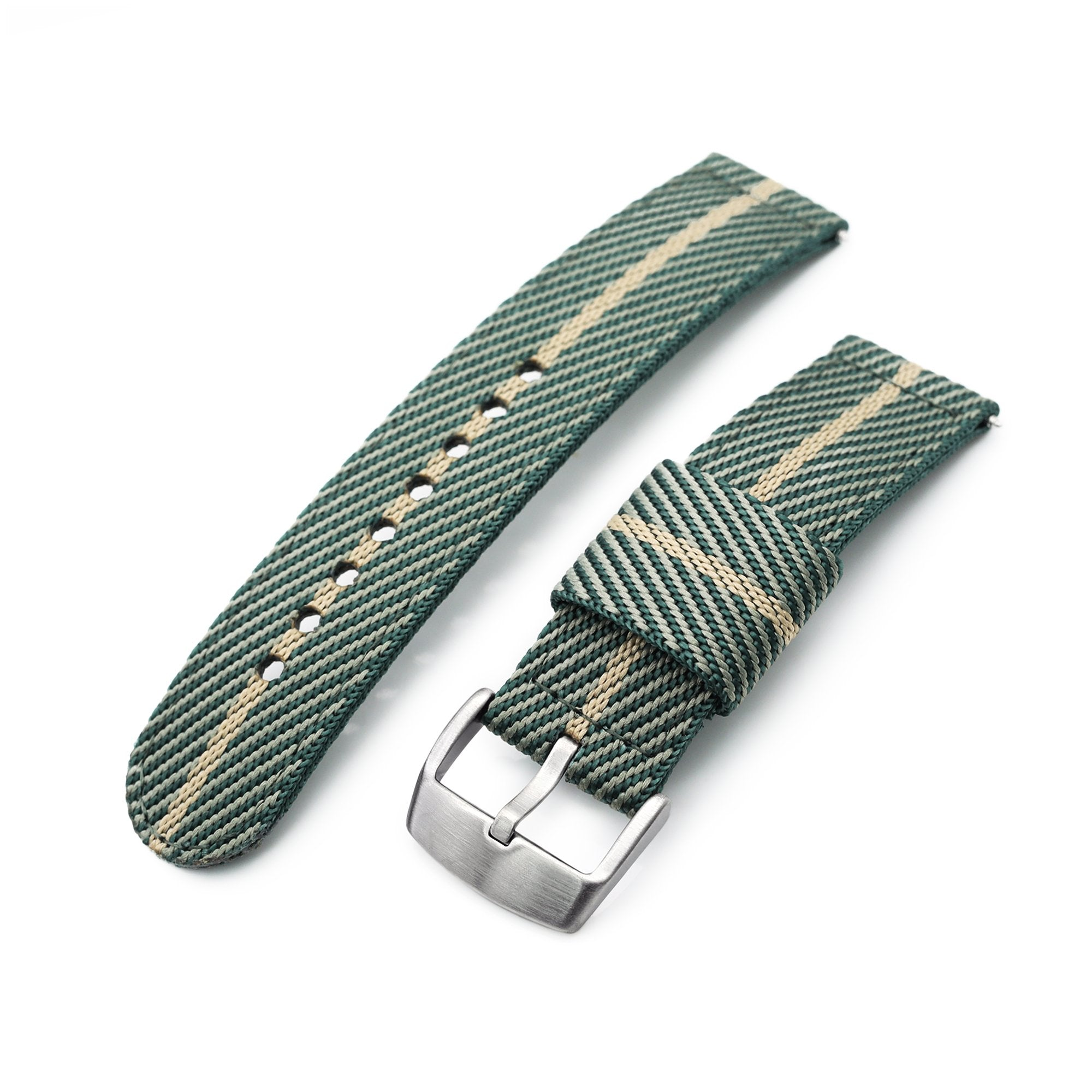 22mm 2-pcs Nylon Watch Band, Quick Release, Green & Khaki, Brushed Buckle Strapcode Watch Bands