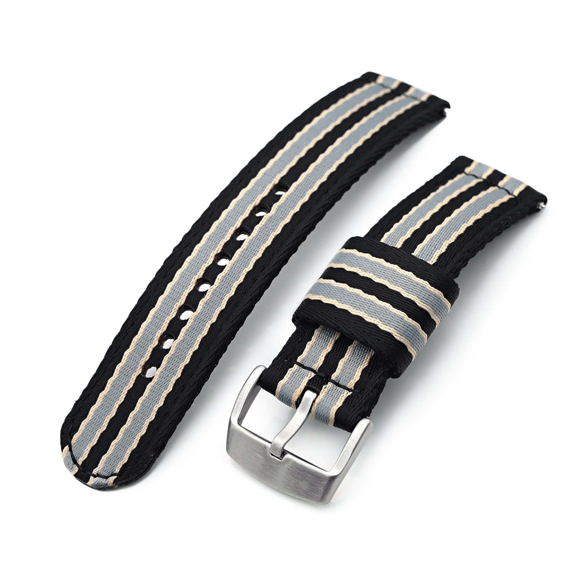 22mm 2-pcs Seatbelt Nylon Watch Band, Black, Grey and Khaki Stripes, Brushed Buckle Strapcode Watch Bands