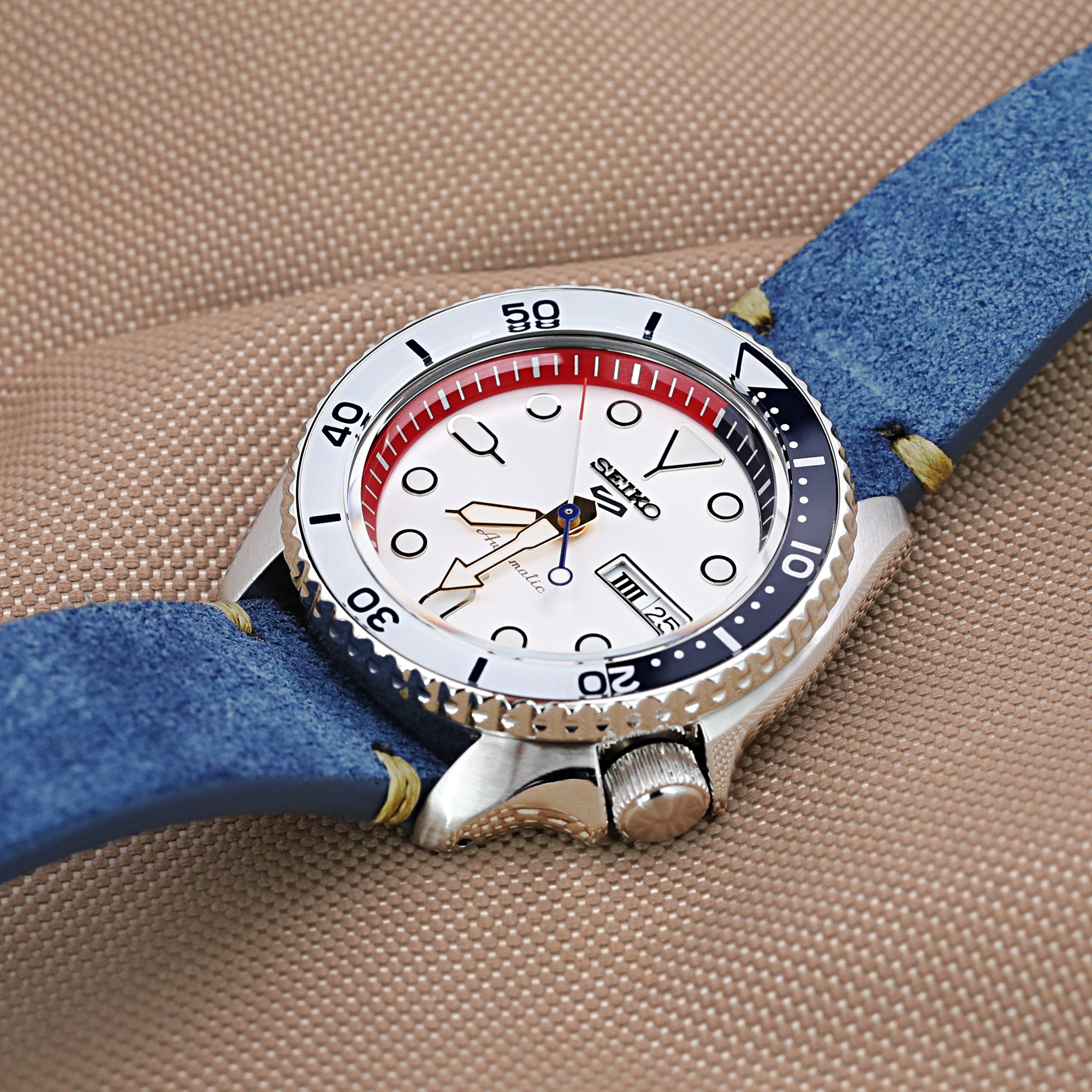 22mm Blue Quick Release Italian Suede Leather Watch Strap Military Green St. Strapcode Watch Bands