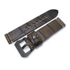 MiLTAT Zizz Collection 22mm Cracked Croco Dark Brown Watch Band, Beige Stitching, PVD Black Strapcode Watch Bands