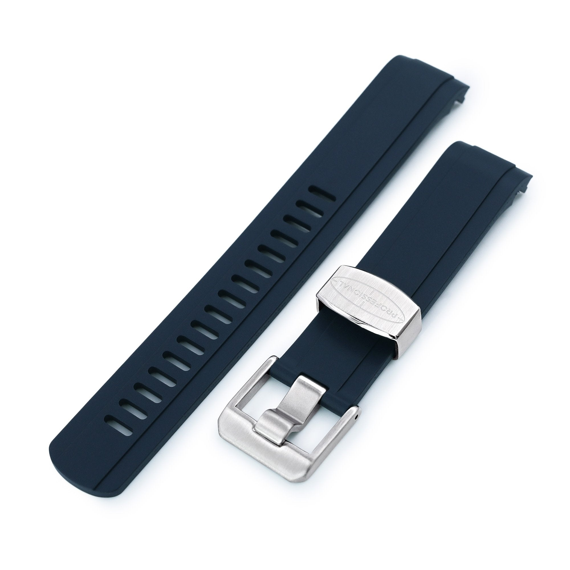 20mm Crafter Blue - Dark Blue Rubber Curved Lug Watch Strap for Seiko Baby MM200 & Mini Turtles Strapcode Watch Bands