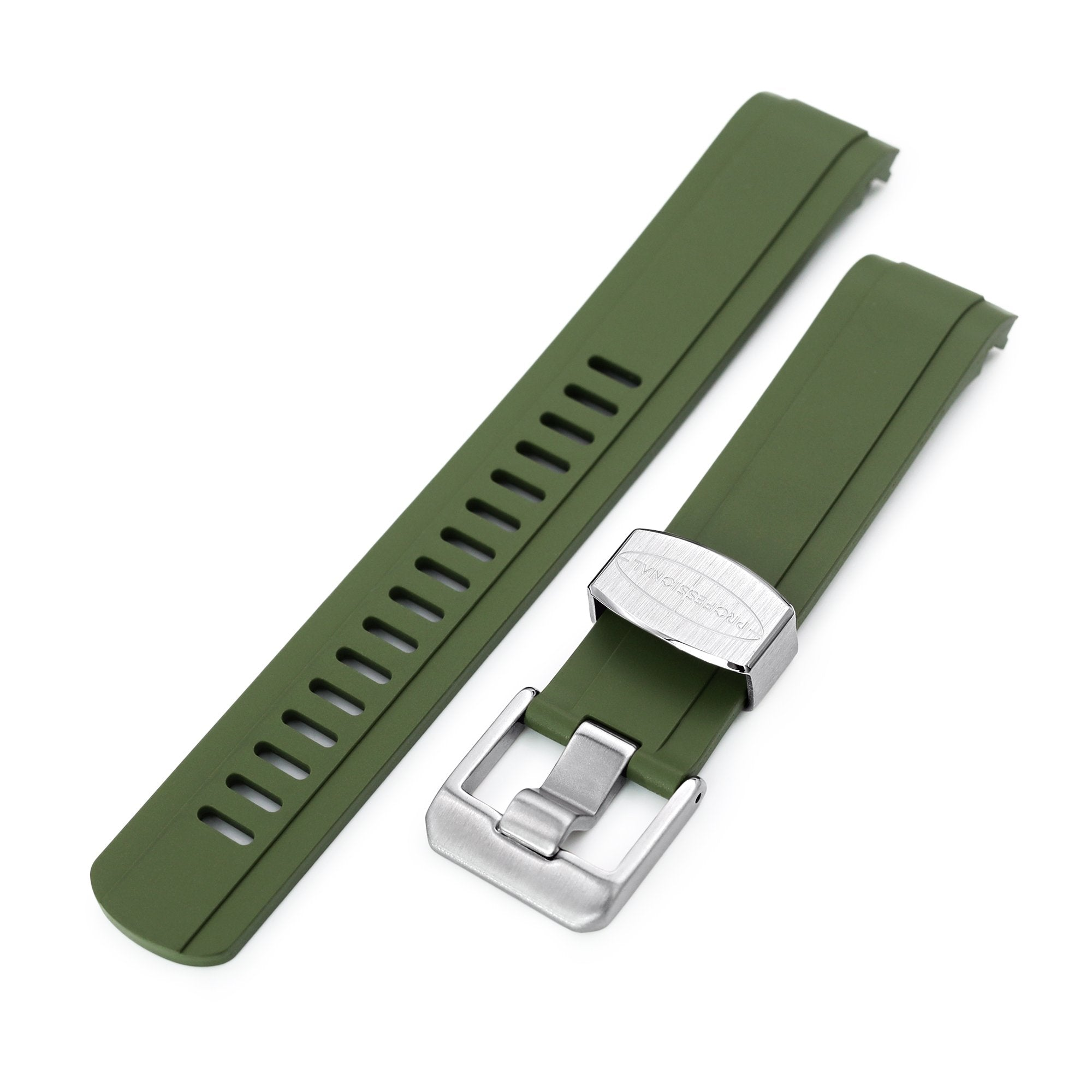 20mm Crafter Blue - Military Green Rubber Curved Lug Watch Strap for Seiko Baby MM200 & Mini Turtles SRPC35 Strapcode Watch Bands