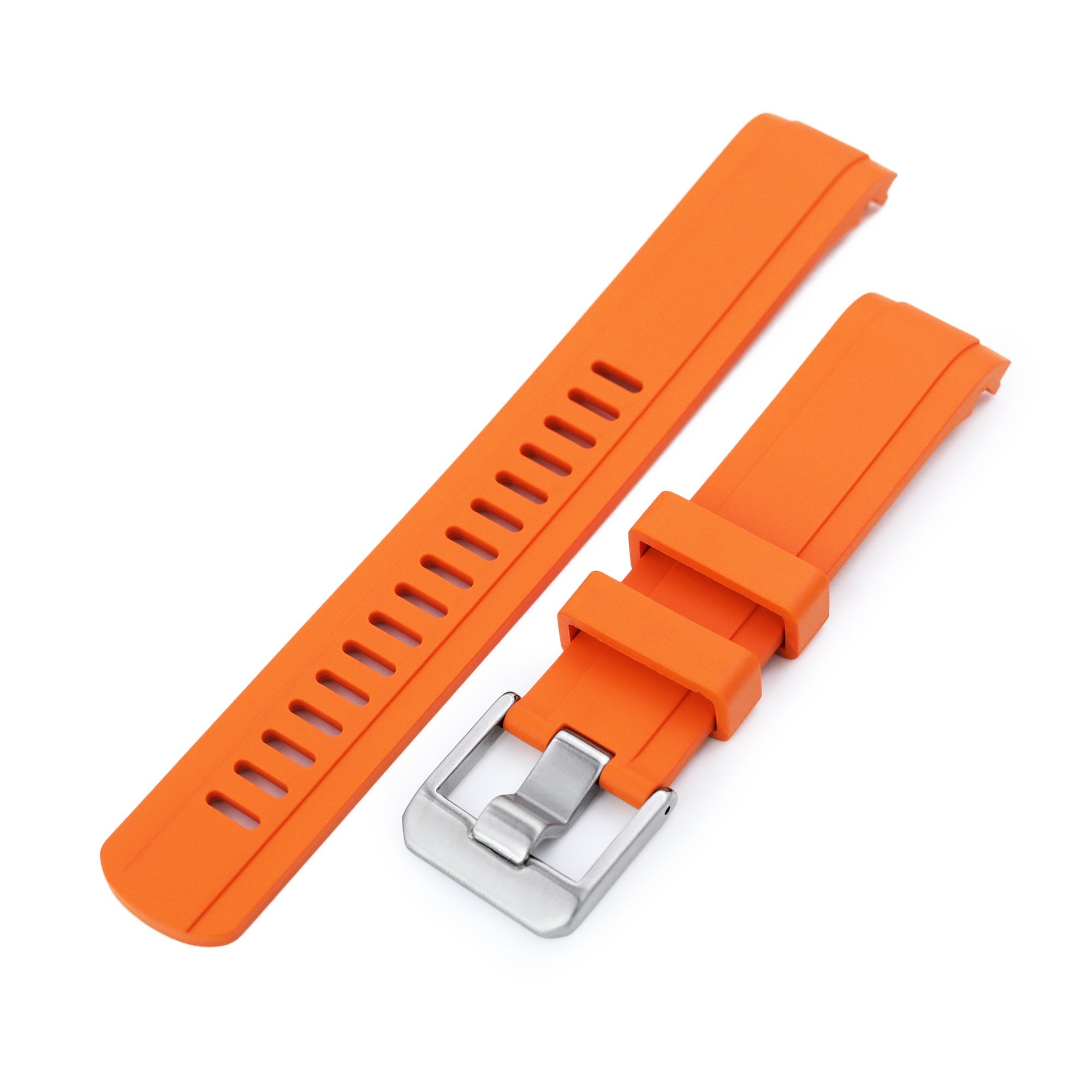 20mm Crafter Blue - Orange Rubber Curved Lug Watch Strap for Seiko Baby MM200 & Mini Turtles SRPC35 Strapcode Watch Bands