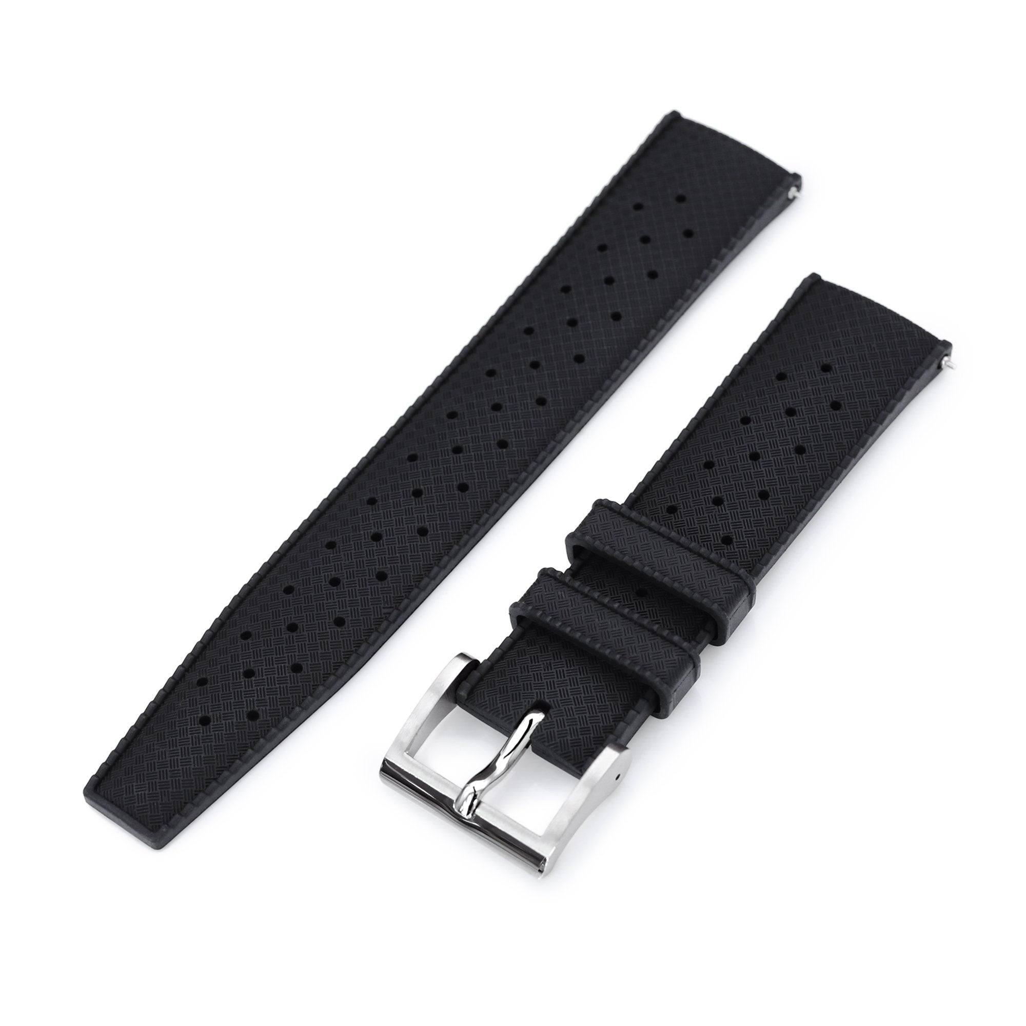Quick Release Black Tropic Pro FKM rubber watch strap, 20mm or 22mm Strapcode Watch Bands