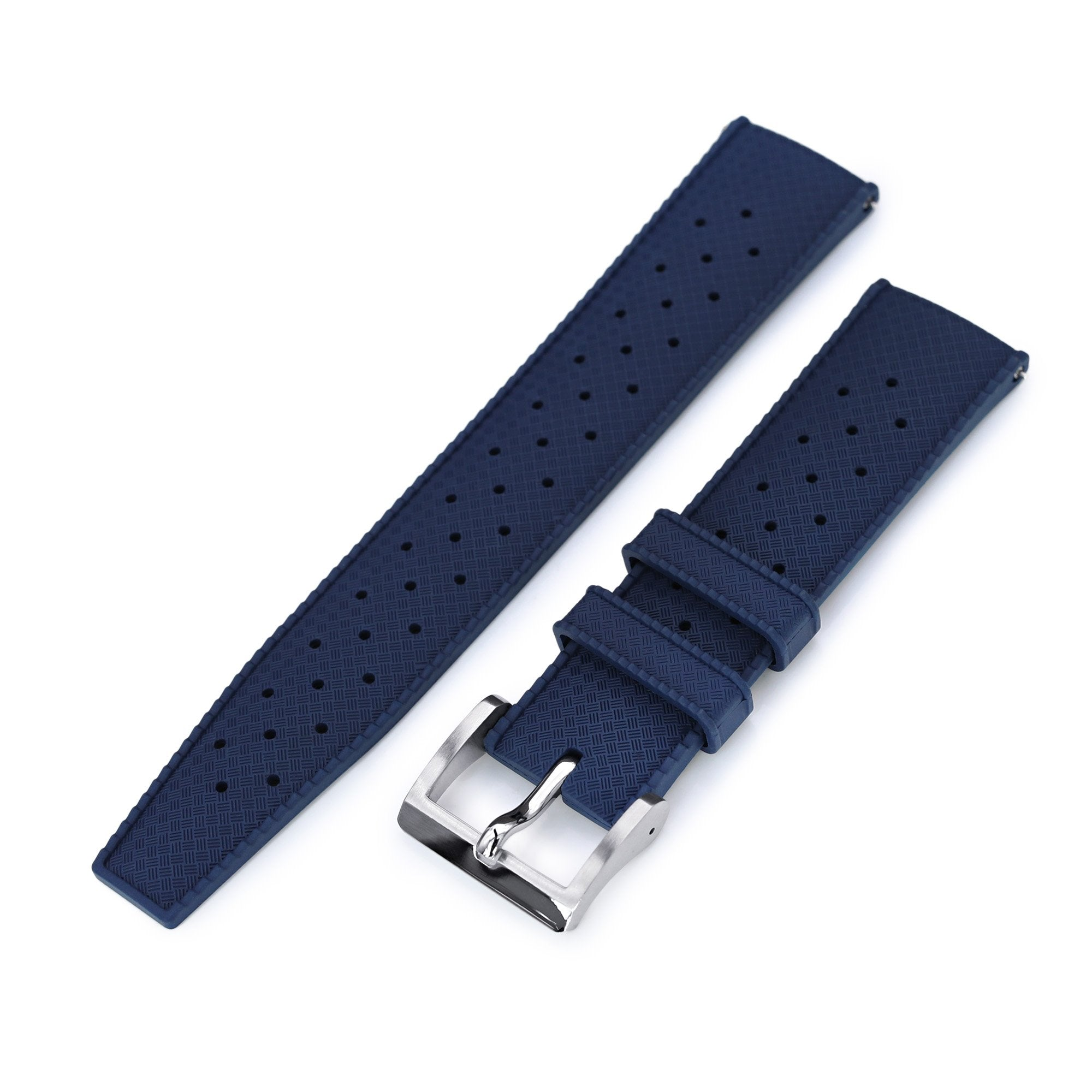 Quick Release Blue Tropic Pro FKM rubber watch strap, 20mm or 22mm Strapcode Watch Bands