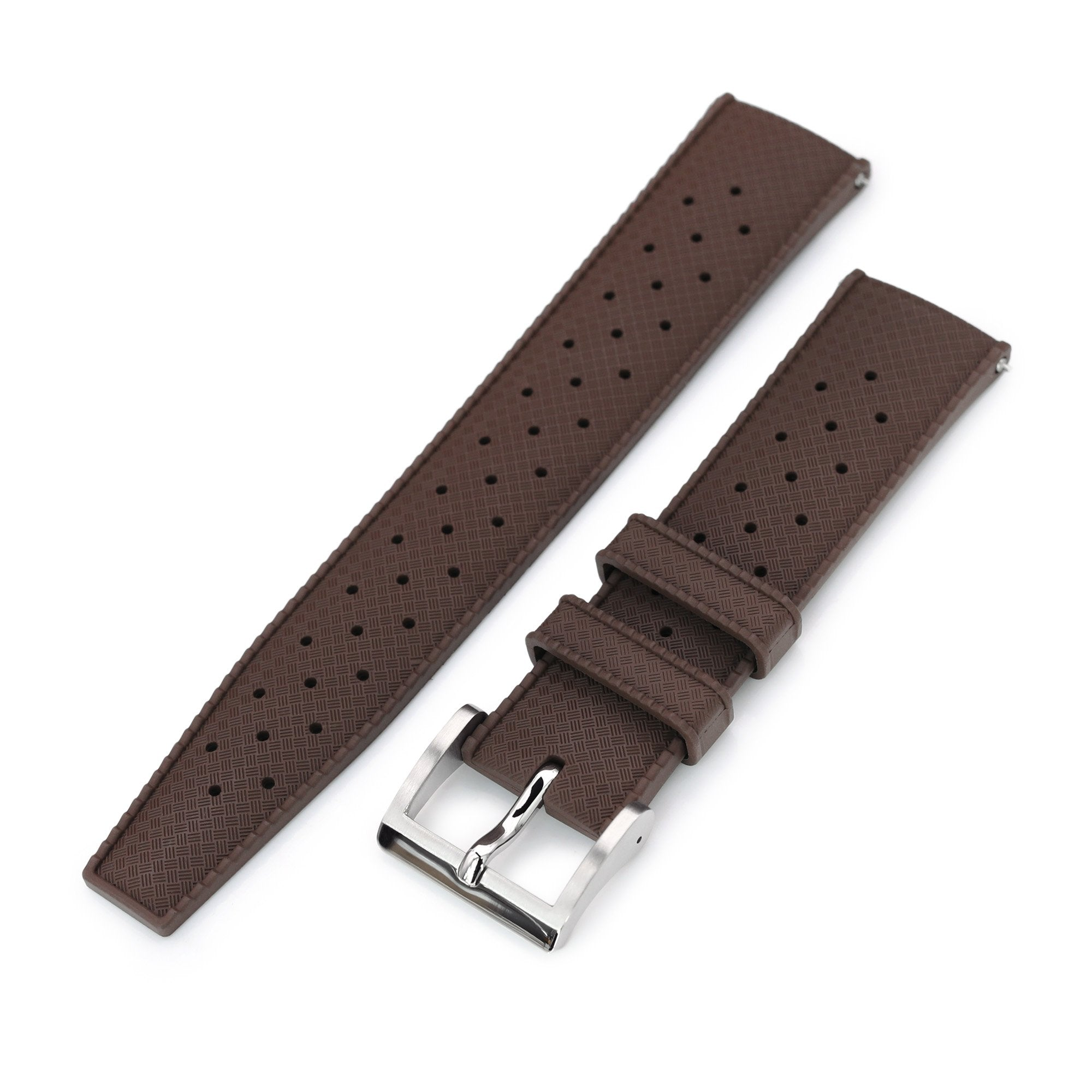 Quick Release Brown Tropic Pro FKM rubber watch strap, 20mm or 22mm Strapcode Watch Bands