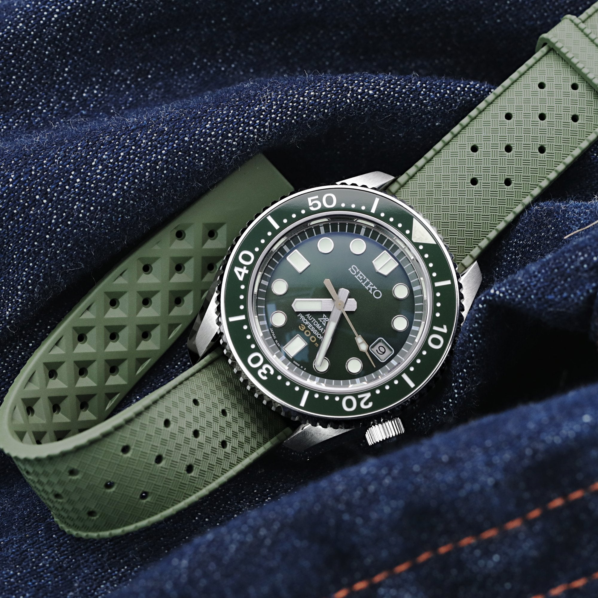 Quick Release Military Green Tropic Pro FKM rubber watch strap, 20mm or 22mm Strapcode Watch Bands