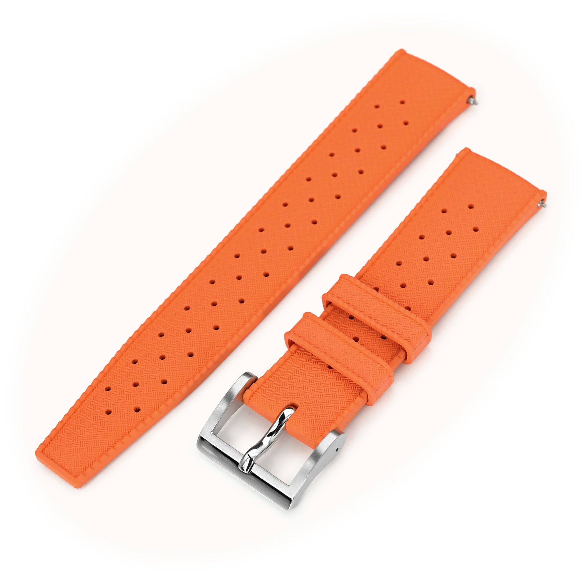 Quick Release Orange Tropic Pro FKM rubber watch strap, 20mm or 22mm Strapcode Watch Bands