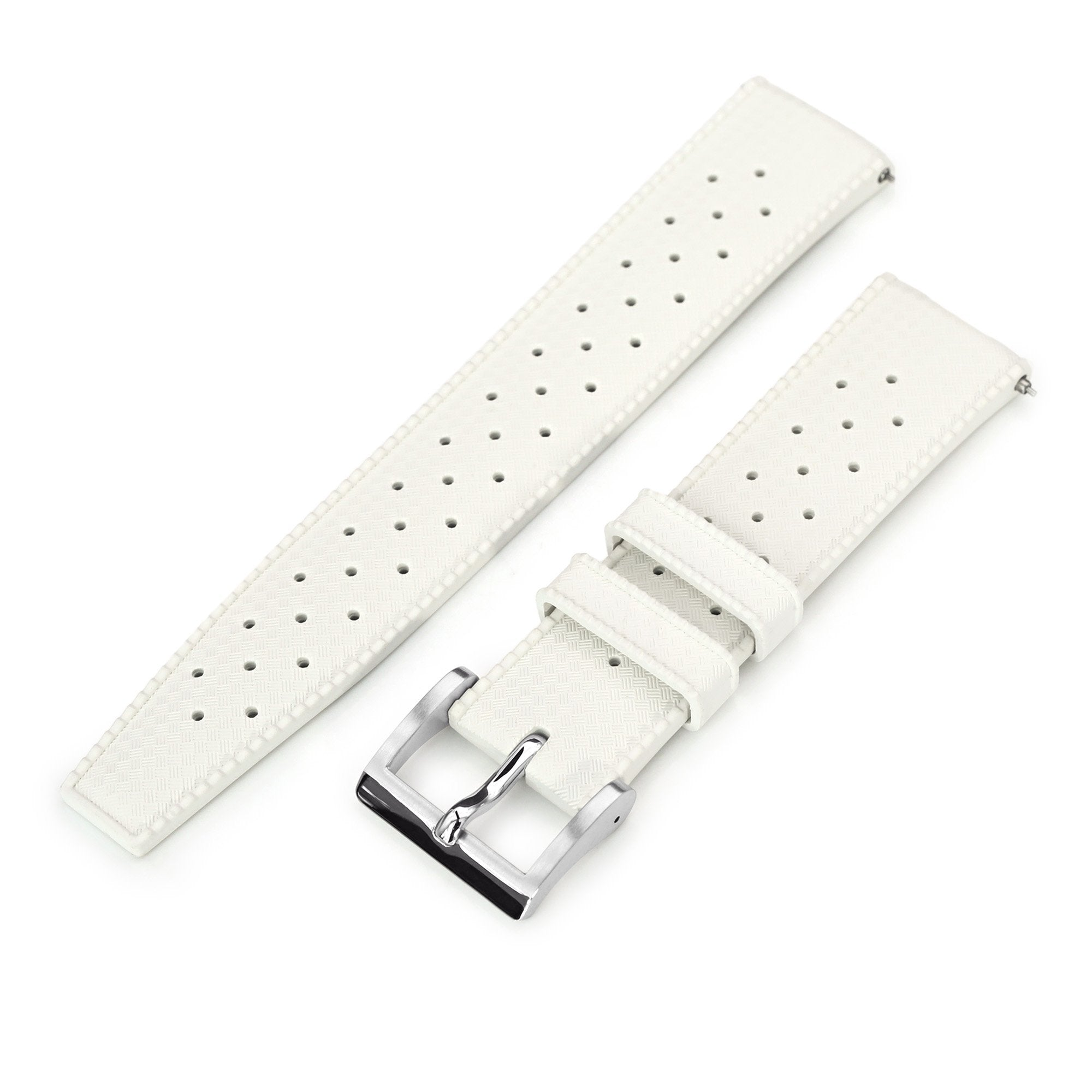 Quick Release White Tropic Pro FKM rubber watch strap, 20mm or 22mm Strapcode Watch Bands
