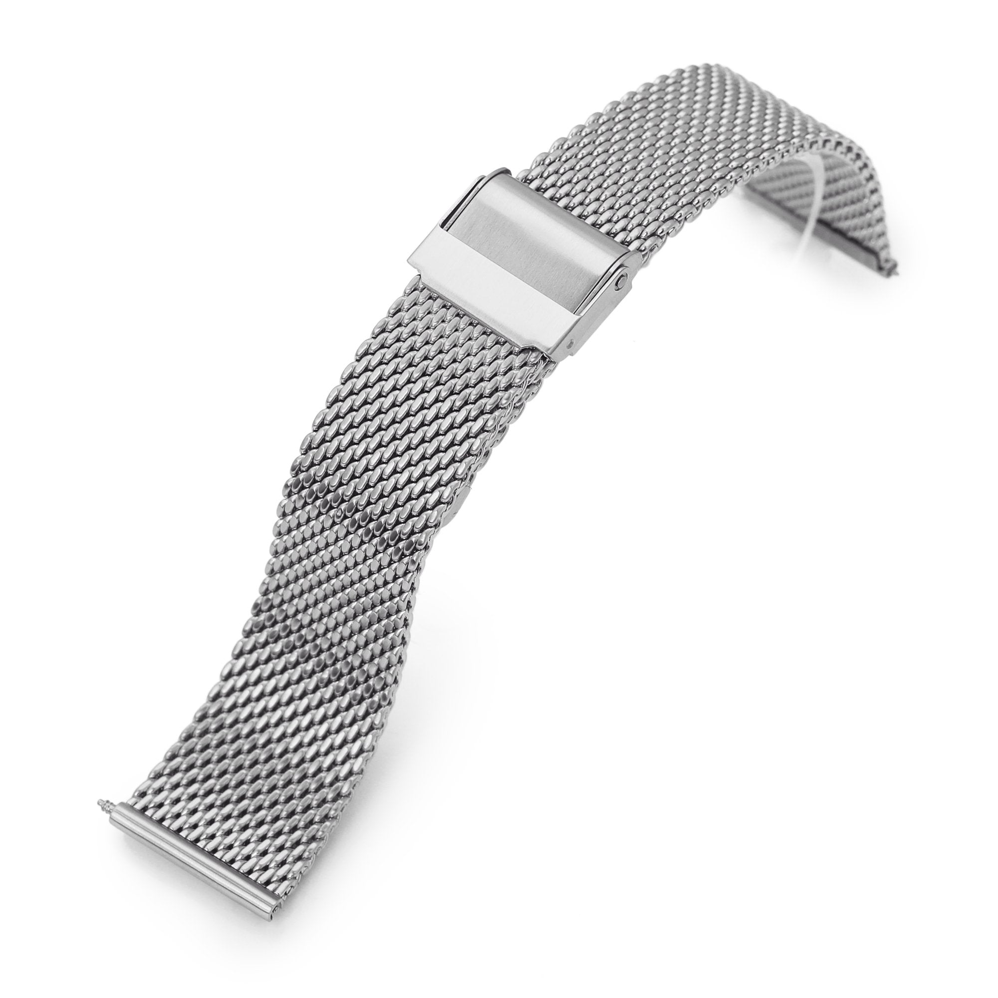 Quick Release Tapered Milanese Mesh Watch Band, 20mm or 22mm, Brushed Strapcode Watch Bands