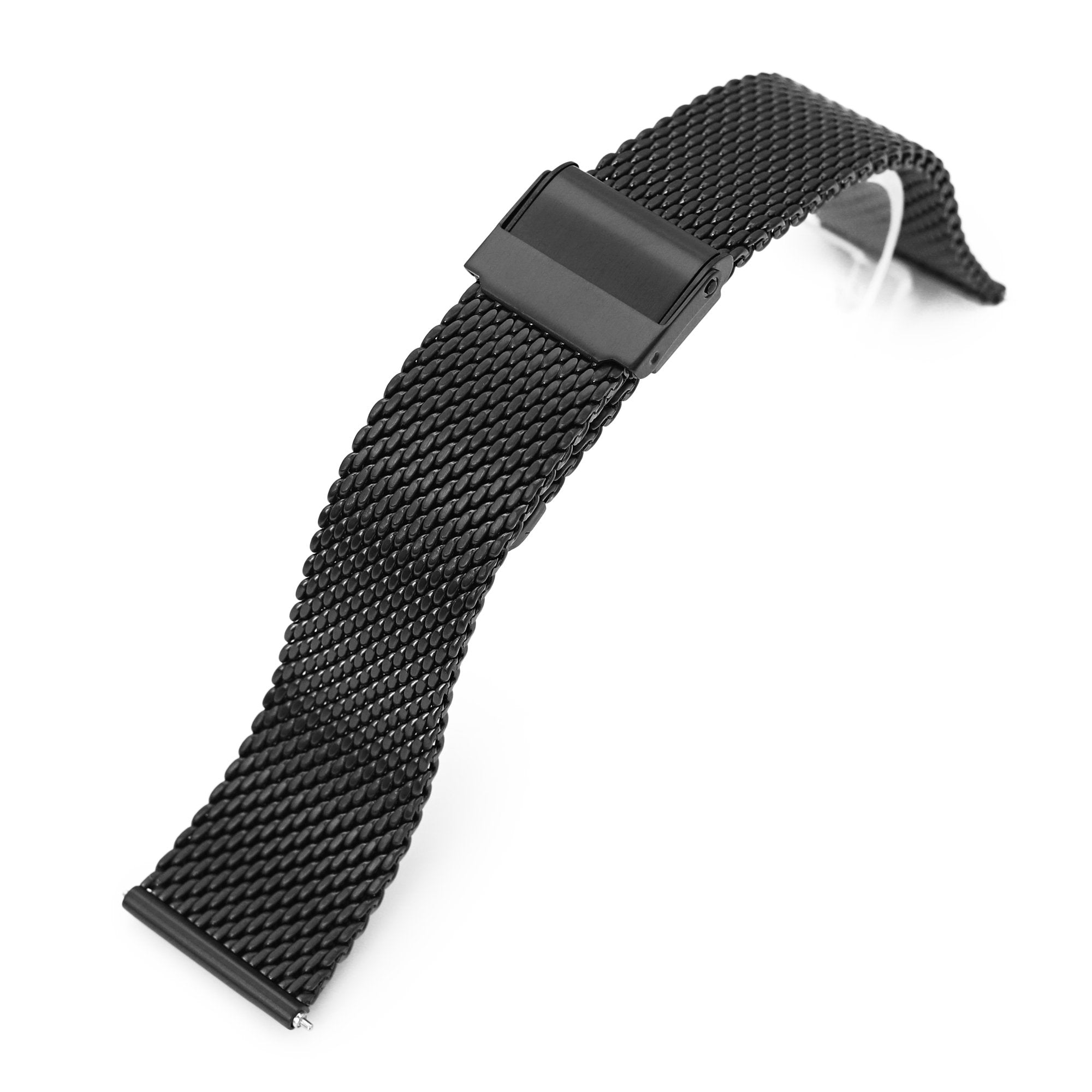 Quick Release Tapered Milanese Mesh Watch Band, 20mm or 22mm, PVD Black Strapcode Watch Bands