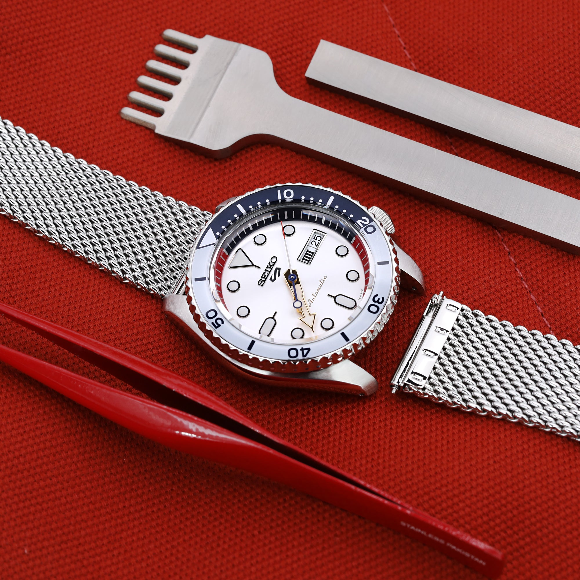 Quick Release Tapered Milanese Mesh Watch Band, 20mm or 22mm, Polished Strapcode Watch Bands