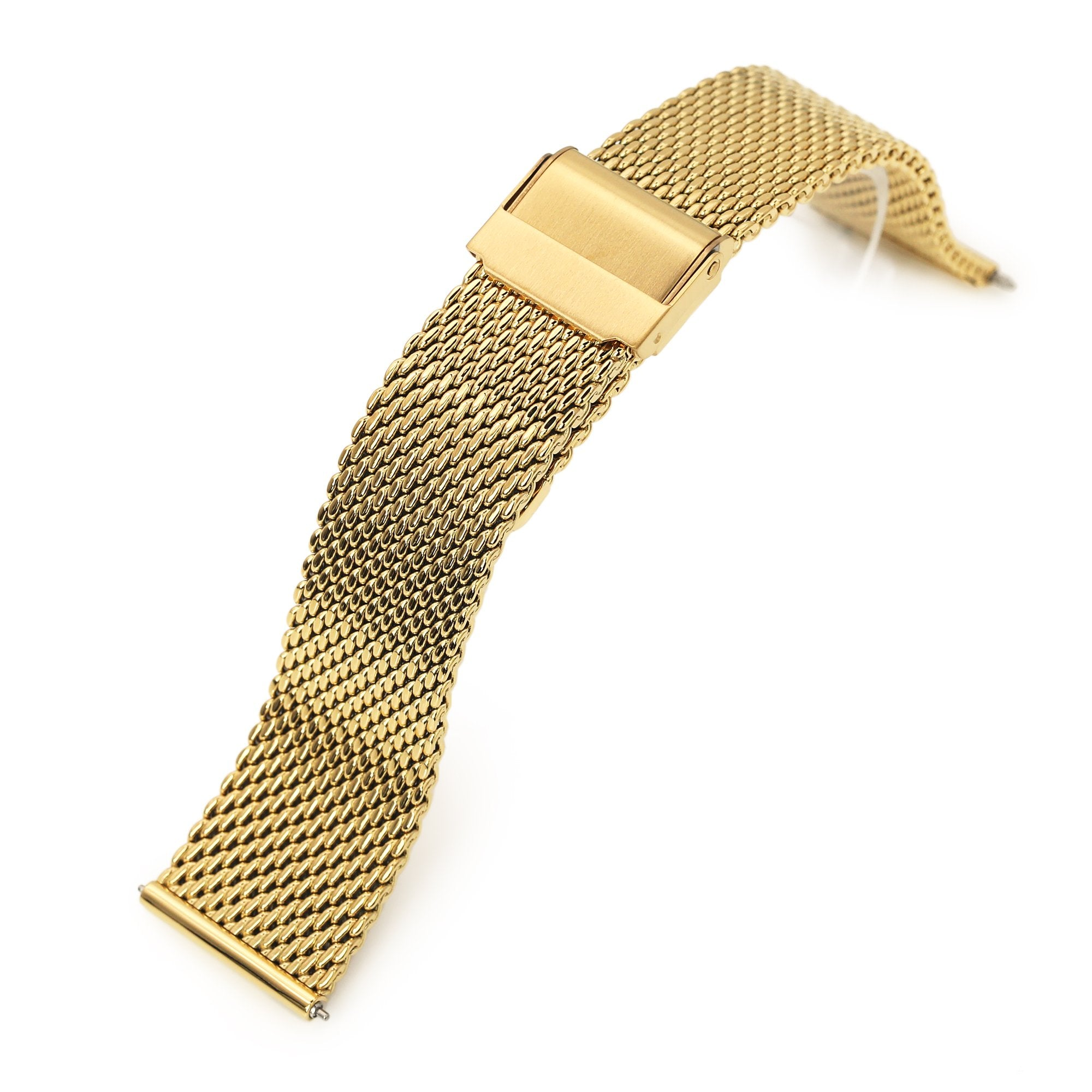 Quick Release Tapered Milanese Mesh Watch Band, 20mm or 22mm, IP Gold Strapcode Watch Bands