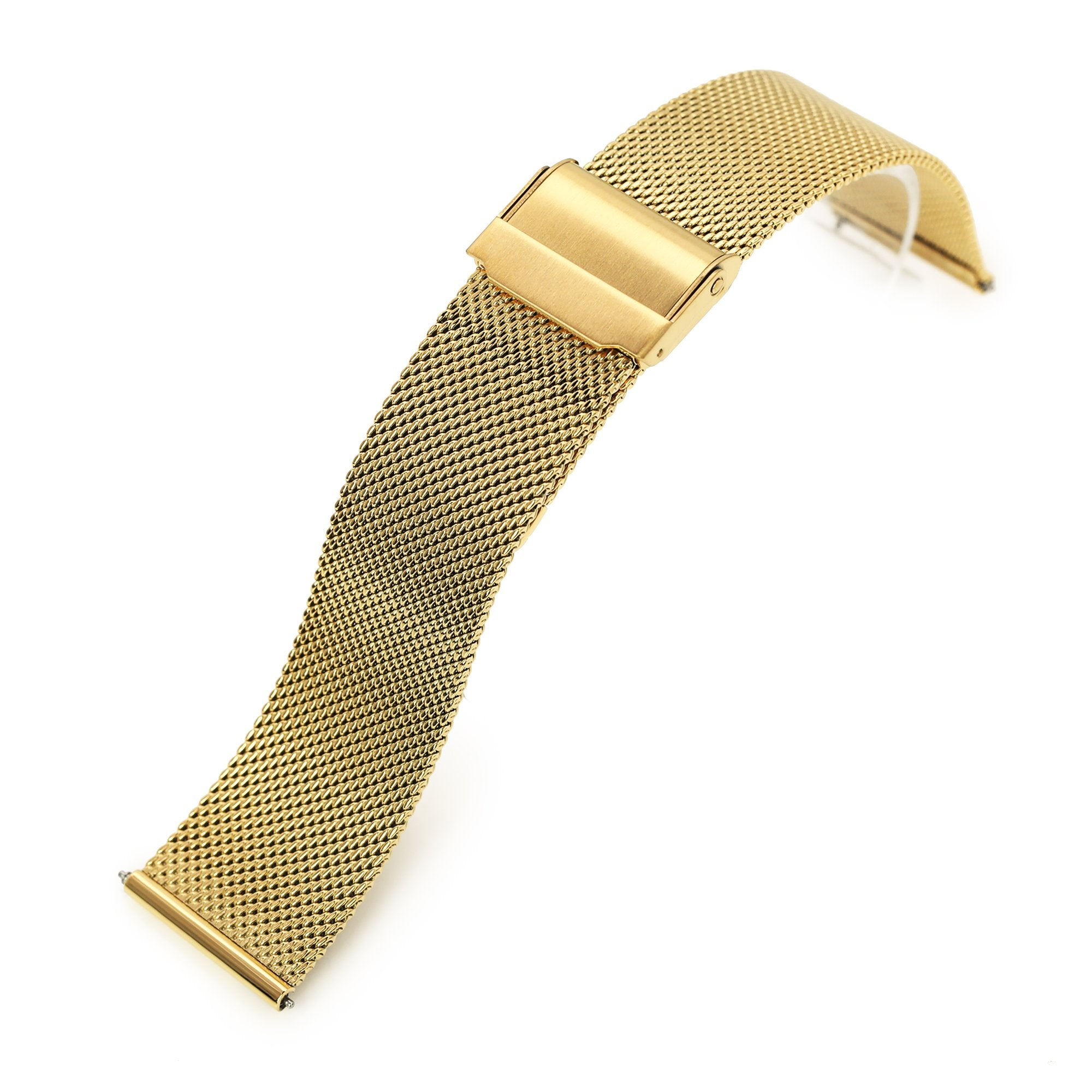 Quick Release Classic Superfine Mesh Watch Band, 18mm, 20mm or 22mm, Full IP Gold Strapcode Watch Bands