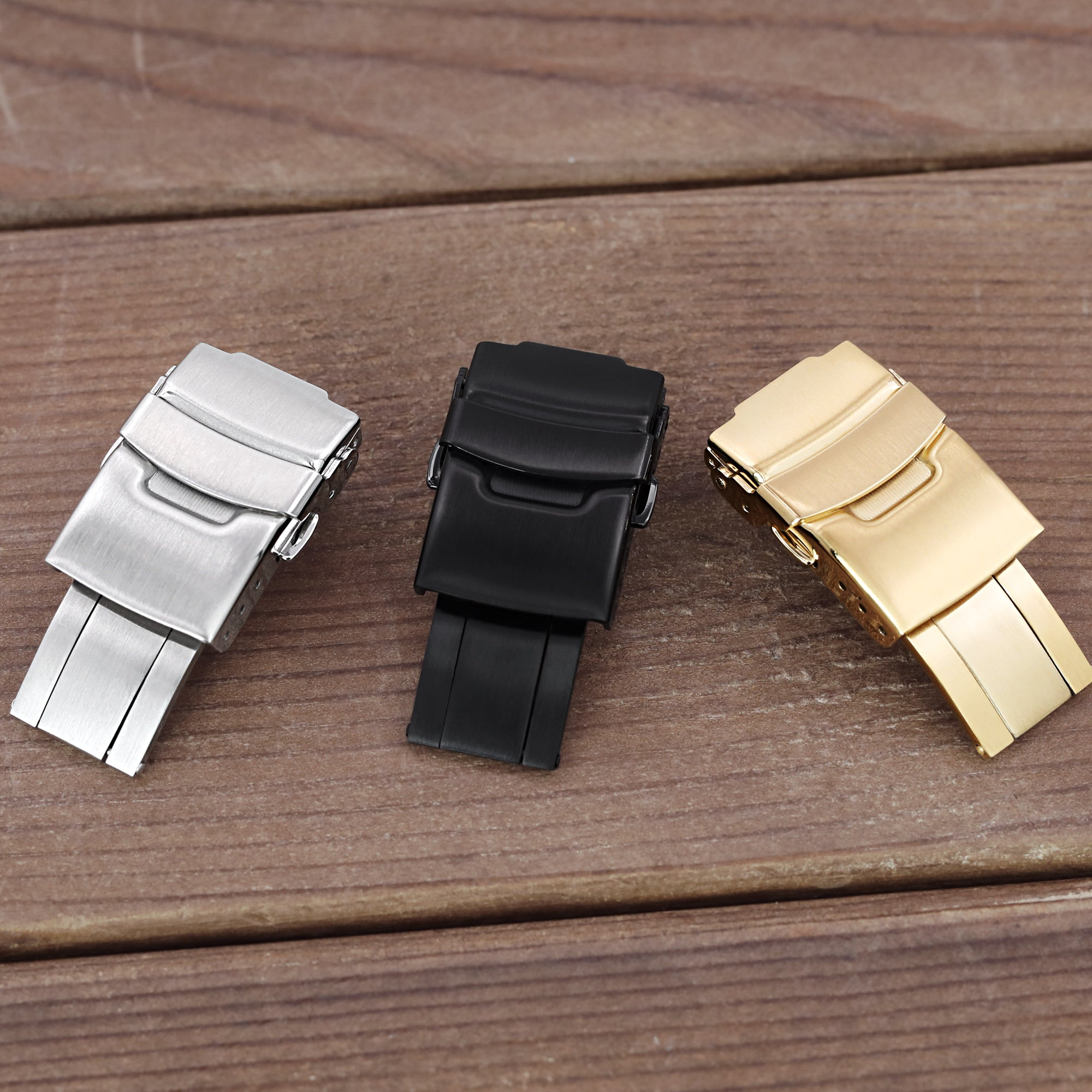 18mm Stainless Steel Diver Clasp Double Lock Button Diver Buckle Brushed IP Gold Strapcode Buckles