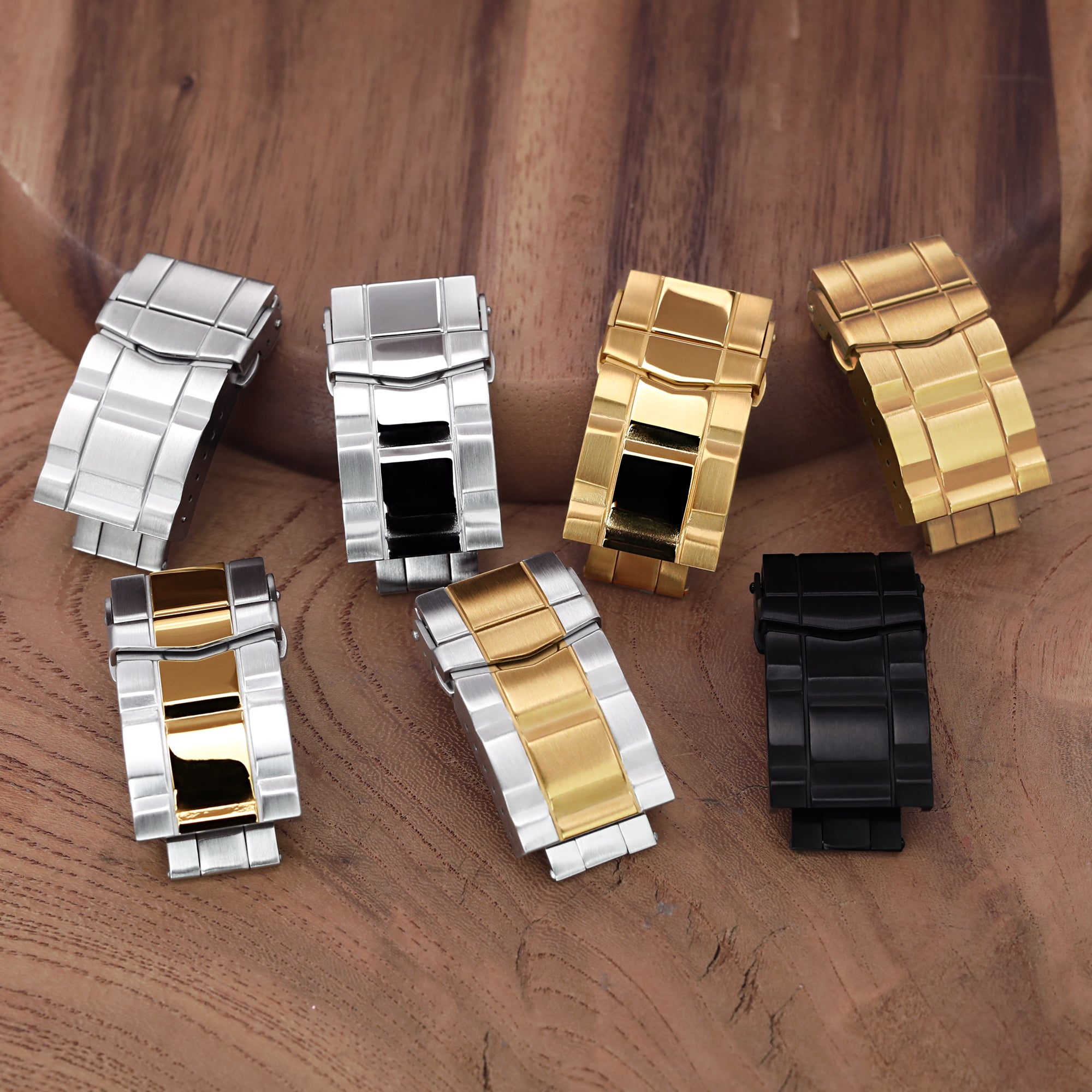 18mm Solid 316L Stainless Steel Double Locks SUB Diver Clasp Button Control 2-tone IP Brushed Gold Strapcode Buckles