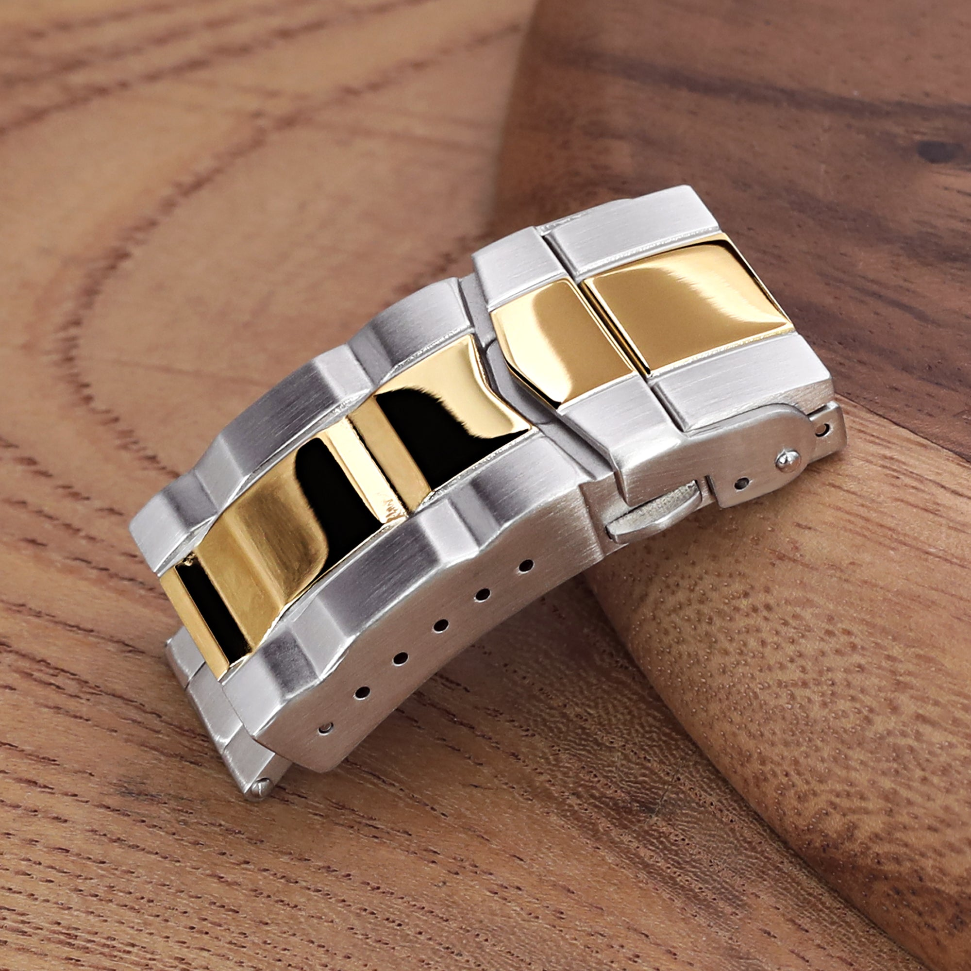 18mm Solid 316L Stainless Steel Double Locks SUB Diver Clasp Button Control 2-tone IP Polished Gold Strapcode Buckles