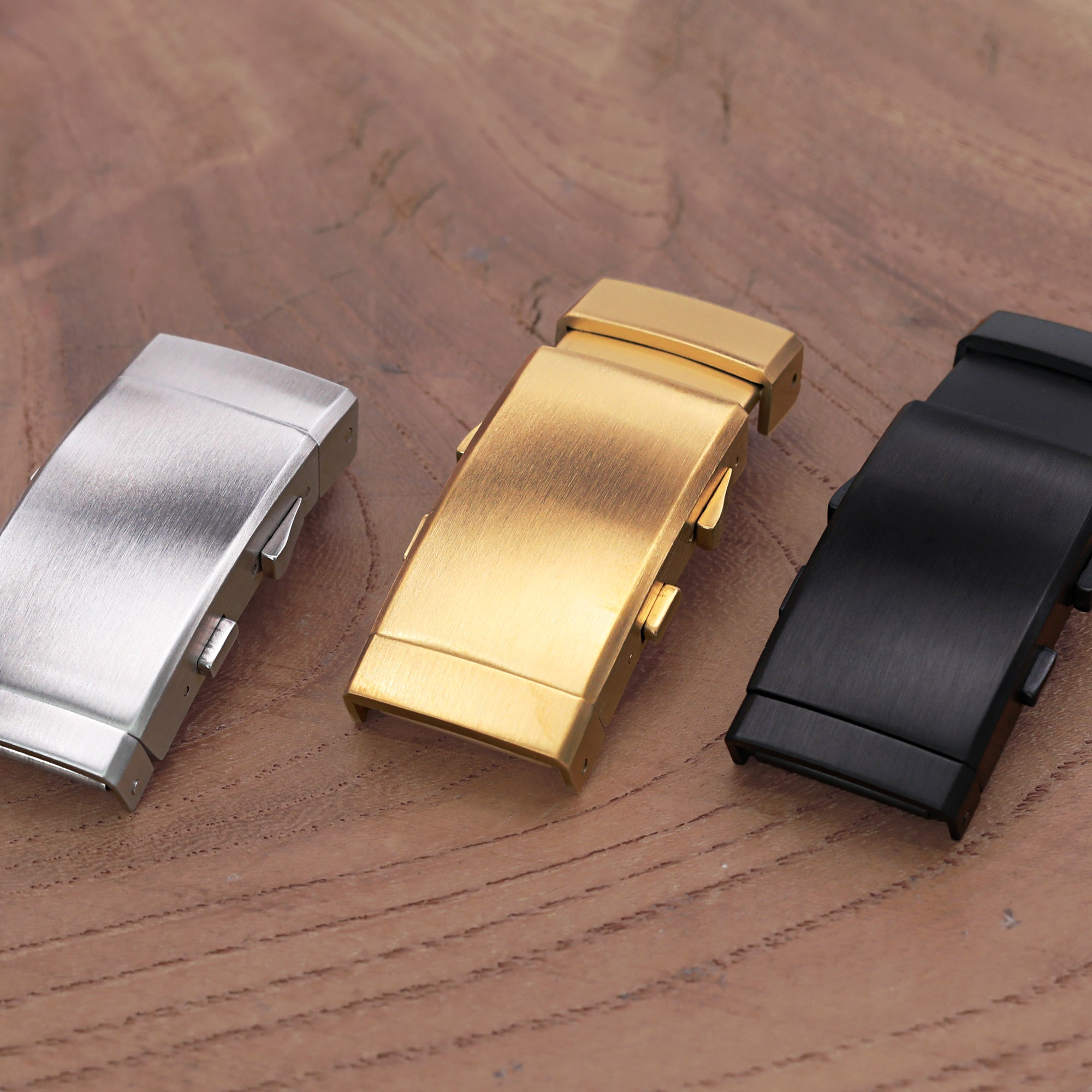 18mm 316L Stainless Steel Wetsuit Ratchet Buckle Button Control diver extension clasp Brushed IP Gold Strapcode Buckles