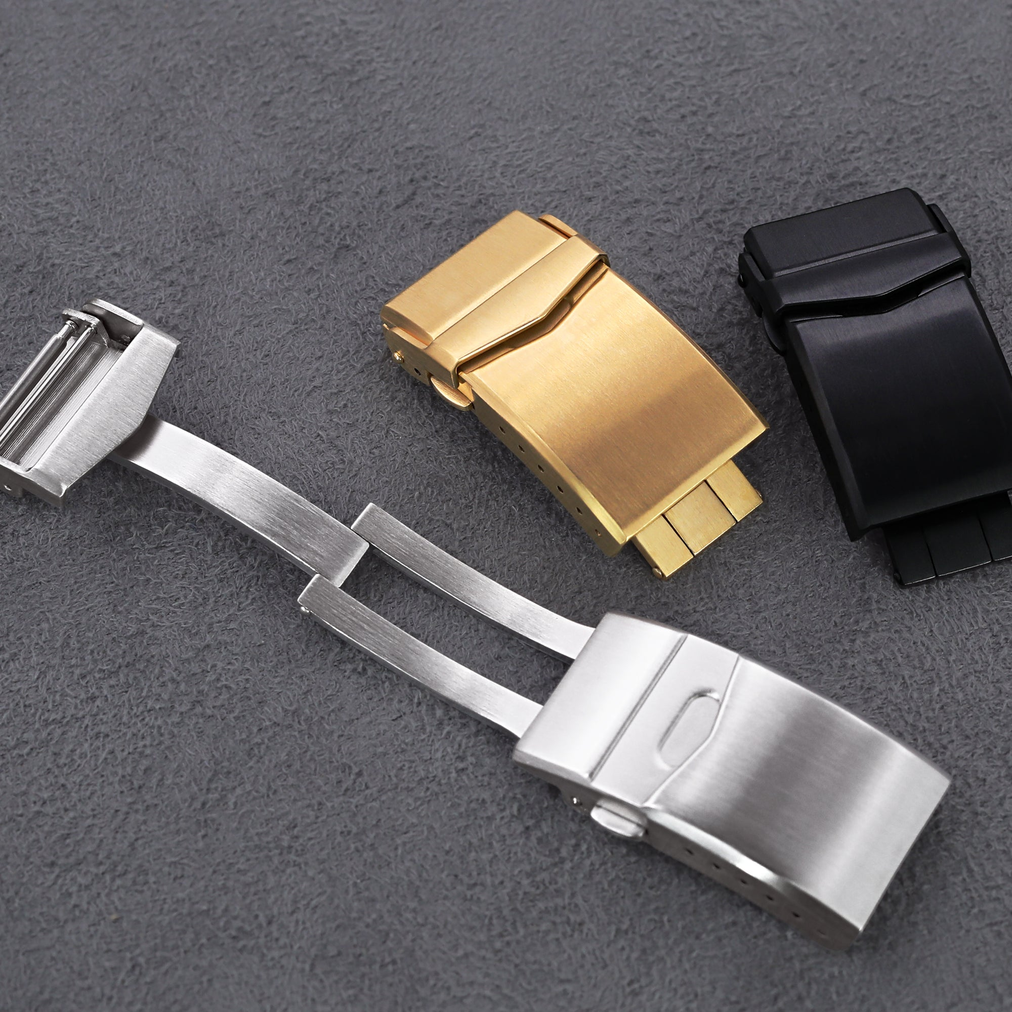 18mm 20mm or 22mm Stainless Steel V Clasp Double Lock Button Diver Buckle Brushed Strapcode Buckles