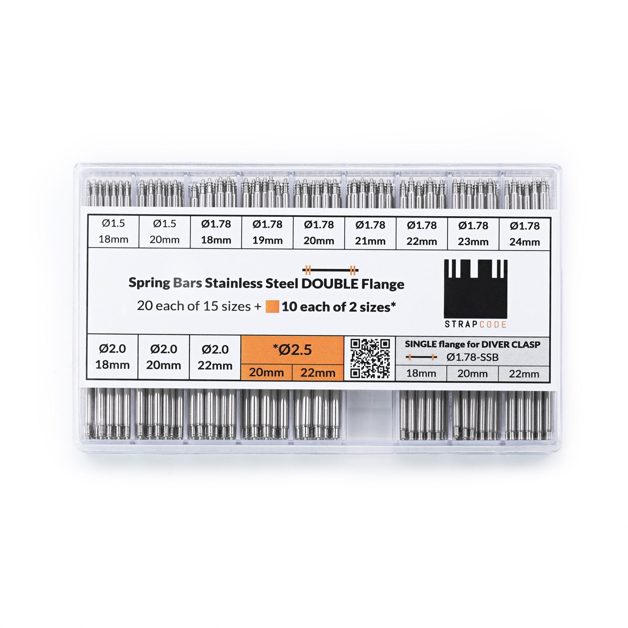 Professional Spring Bar Graded Box for Watch Bands - 320pcs/Box Strapcode Watch Bands Tool