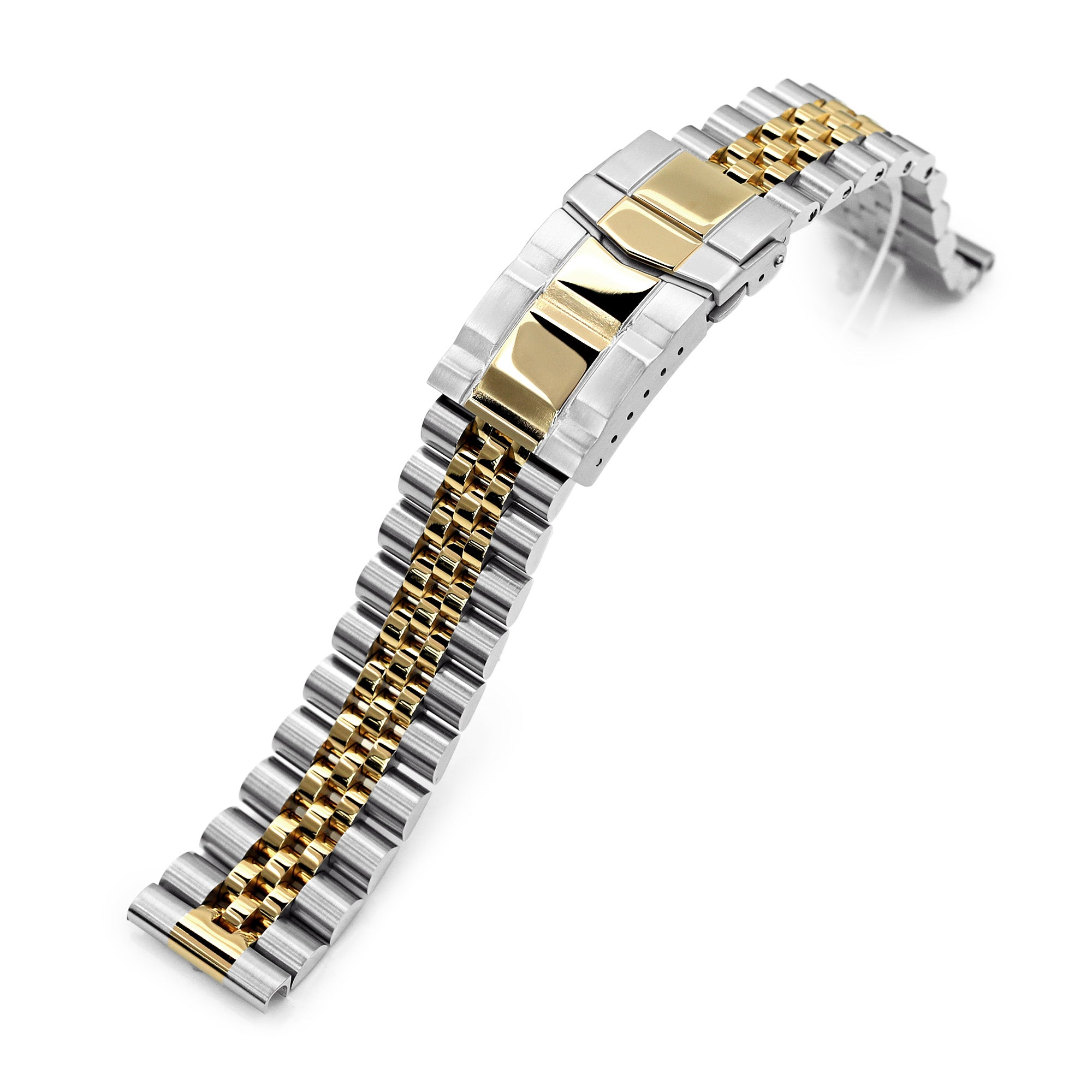 20mm Super-J Louis JUB 316L Stainless Steel Watch Bracelet Straight End, Two Tone IP Gold, SUB Clasp Strapcode Watch Bands