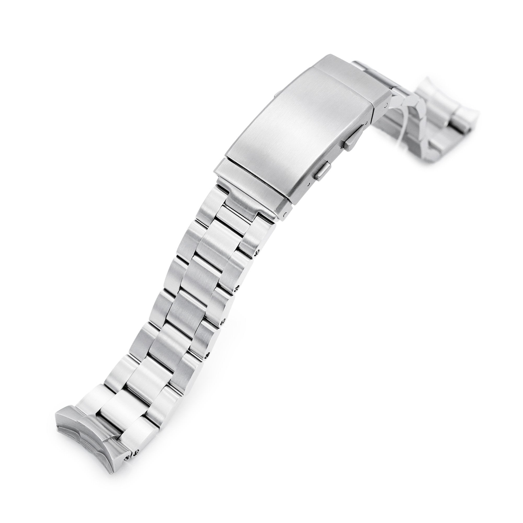 20mm Super-O Boyer 316L Stainless Steel Watch Band for New Seiko 5 40mm, Brushed Wetsuit Ratchet Buckle Strapcode Watch Bands